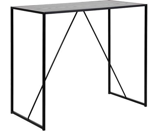 Stolik barowy Seaford, Metal, melamina, drewno jesionowe, Czarny, S 120 x G 60 cm