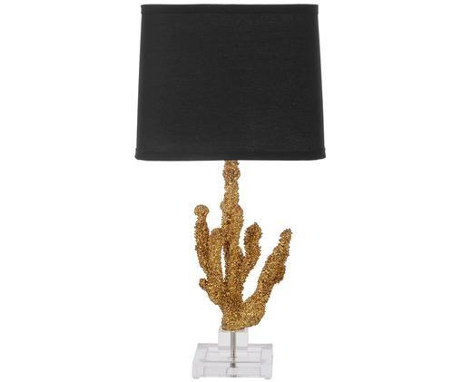 Lampe à poser Coral, Transparent, couleur dorée Abat-jour: noir