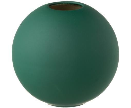 Handgemaakte bollen vaas Ball, Keramiek, Donkergroen, Ø 8 x H 8 cm