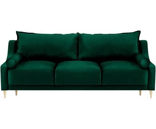 Sofa rozkładana z aksamitu Lea (3-osobowa), Tapicerka: aksamit poliestrowy, Nogi: metal malowany proszkowo, Butelkowy zielony, S 215 x G 94 cm
