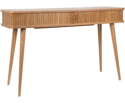 Holz-Konsole Barbier mit Stauraum, Korpus: Braun Schiebetüren und Füße: Eschenholz