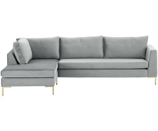 Samt-Ecksofa Luna, Bezug: Samt (Polyester) 80.000 S, Gestell: Massives Buchenholz, Füße: Metall, galvanisiert, Beigegrau, B 280 x T 184 cm