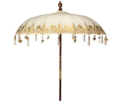 Parasol Oriental Lounge, Beige, couleur dorée, brun foncé