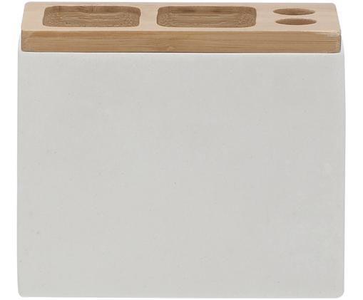 Portaspazzolino Grace, Recipiente: poliresina, Coperchio: legno di bambù, Bianco, Larg. 12 x Alt. 10 cm
