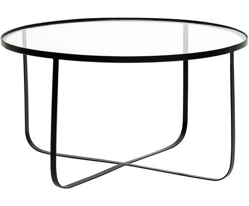 Metall-Couchtisch Harper mit Glasplatte, Gestell: Metall, pulverbeschichtet, Tischplatte: Glasplatte, Schwarz, Ø 80 x H 43 cm