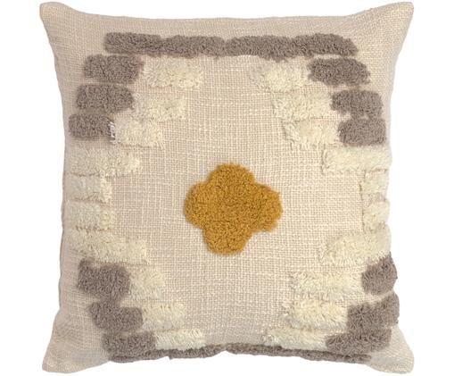 Kissenhülle Teide mit getufteter Verzierung, Baumwolle, Beige, Grau, Senfgelb, 45 x 45 cm