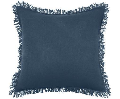 Kissen Prague mit Fransenabschluss, mit Inlett, Bezug: Baumwolle, Blau, 40 x 40 cm