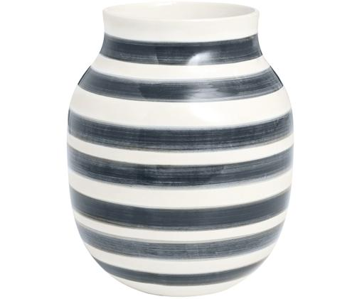 Handgefertigte Design-Vase Omaggio, medium, Keramik, Grau, Weiß, Ø 17 x H 20 cm