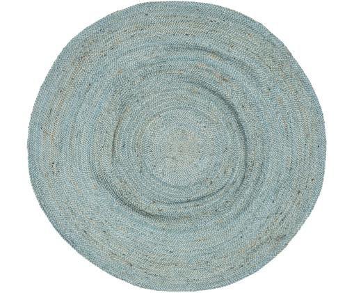 Runder Jute-Teppich Pampas in Hellblau, Jute, Hellblau, Ø 150 cm (Größe M)