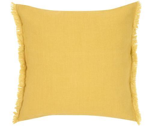 Leinen-Kissenhülle Luana mit Fransen, Leinen, Gelb, 40 x 40 cm
