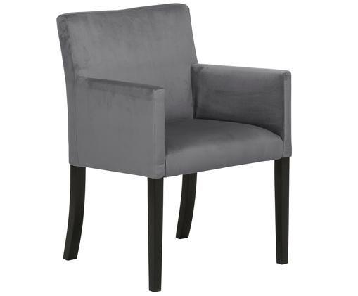 Sedia con braccioli   in velluto Boston, Rivestimento: velluto (rivestimento in , Gambe: legno di faggio massello , Rivestimento: grigio scuro Gambe: nero, Larg. 60 x Prof. 60 cm