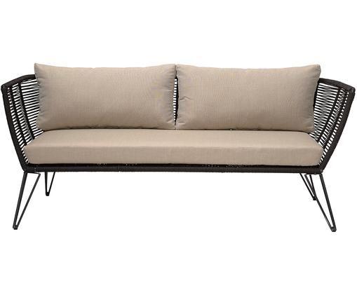Sofa ogrodowa Mundo (2-osobowa), Stelaż: metal malowany proszkowo, Tapicerka: poliester, Czarny matowy, beżowy, S 175 x G 74 cm