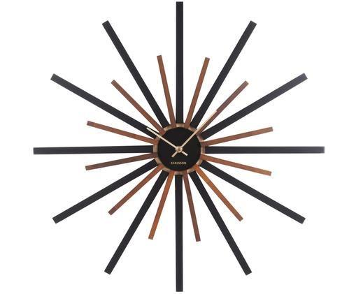 Orologio da parete Diva, Pannello di fibra a media densità (MDF), Nero, marrone, dorato, Ø 60 cm