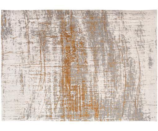 Tappeto Griff, Tessuto: Jacquard, Retro: Miscela di cotone, rivest, Fronte: grigio, dorato, bianco latte, Larg. 80 x Lung. 150 cm (taglia XS)