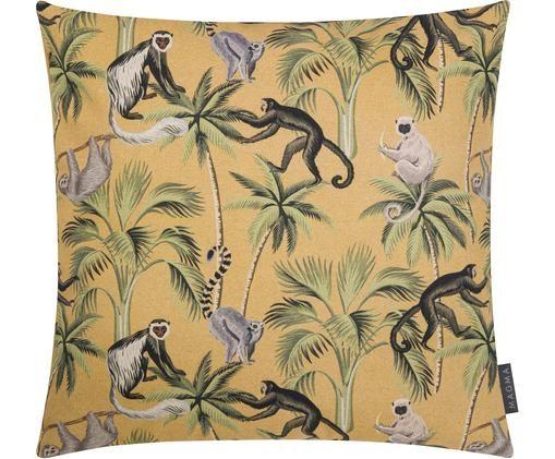 Dwustronna poszewka na poduszkę Backwoods, 85% bawełna, 15% len, Musztardowy, zielony, brązowy, beżowy, S 50 x D 50 cm