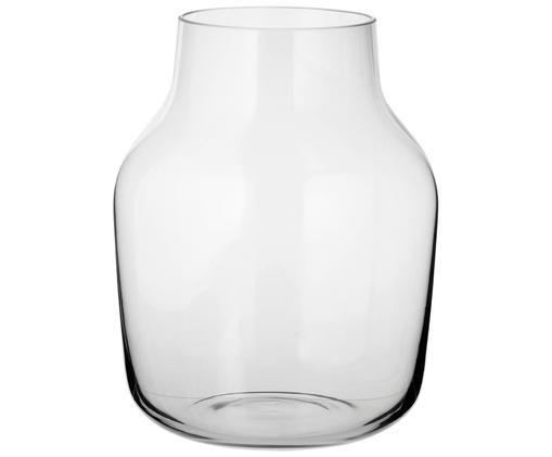 Vaso in vetro soffiato Silent, Vetro, Grigio trasparente, A 19 cm