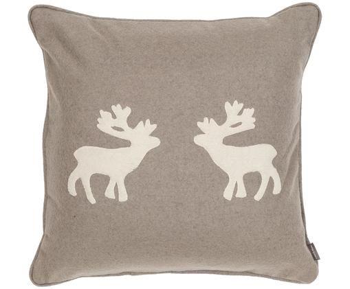 Cuscino in feltro di lana Sister Reindeer, Sabbia, bianco incrinato