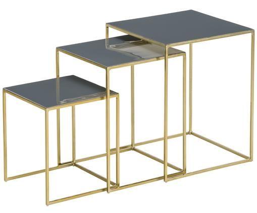 Tables d'appoint gigognes en émail Amalia, 3élém., Plateau: gris foncé Structure: couleur dorée