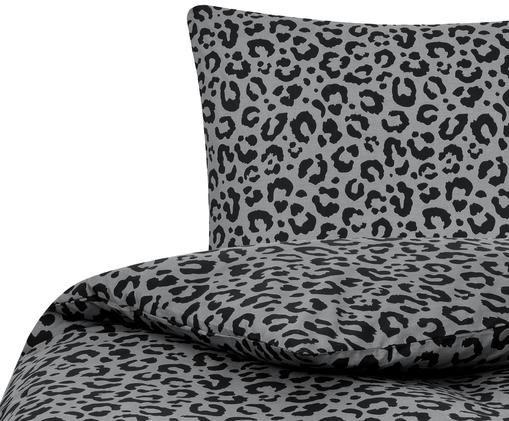 Perkal-Bettwäsche Leopard, Grau, Schwarz