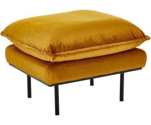 Sofa-Hocker Retro aus Samt, Bezug: Polyestersamt 86.000 Sche, Korpus: Mitteldichte Holzfaserpla, Füße: Metall, pulverbeschichtet, Ockergelb, B 72 x T 65 cm