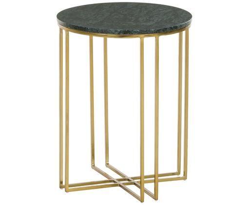 Tavolino rotondo con piano in marmo Joyce, Struttura: metallo rivestito, Piano d'appoggio: marmo verde Struttura: dorato lucido, Ø 40 x Alt. 50 cm