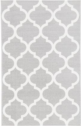 Flachgewebter Baumwollteppich Amira in Grau/Weiß