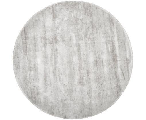 Alfombra artesanal de viscosa Jane, Parte superior: 100%viscosa, Reverso: 100%algodón, Gris claro, beige, Ø 200 cm