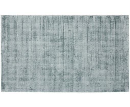 Handgeweven viscose vloerkleed Jane, Bovenzijde: 100% viscose, Onderzijde: 100% katoen, IJsblauw, 90 x 150 cm