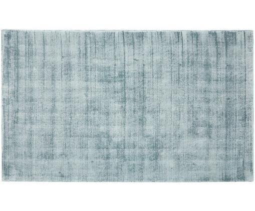 Handgewebter Viskoseteppich Jane, Flor: 100% Viskose, Eisblau, B 90 x L 150 cm (Größe XS)