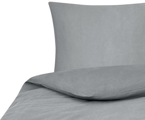 Gewaschene Baumwoll-Bettwäsche Arlene mit Stehsaum, Webart: Renforcé, Dunkelgrau, 135 x 200 cm