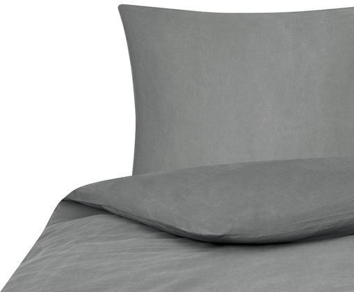 Gewaschene Baumwoll-Bettwäsche Arlene in Dunkelgrau, Webart: Renforcé, Dunkelgrau, 135 x 200 cm