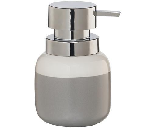 Dozownik do mydła Sphere, Pojemnik: jasny szary, biały Pompka: odcienie srebrnego, Ø 10 x W 14 cm