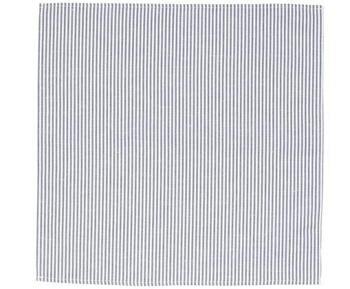 Tovagliolo di stoffa Streifen, Bianco, blu, Larg. 45 x Lung. 45 cm