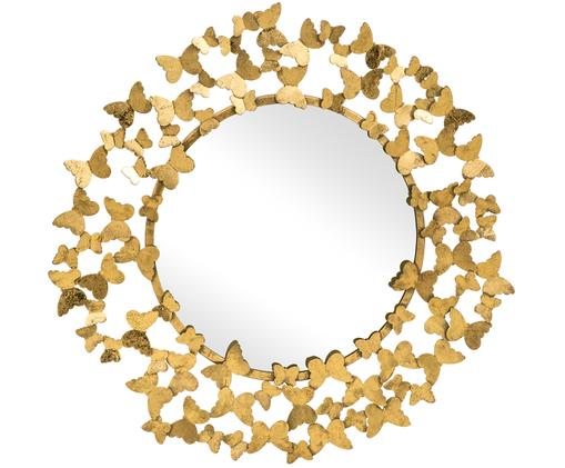 Specchio da parete Butterfly, Cornice: metallo, Superficie dello specchio: lastra di vetro, Dorato, Ø 92 cm
