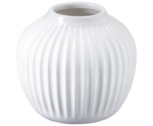 Handgefertigte Design-Vase Hammershøi, Porzellan, Weiß, Ø 14 x H 13 cm