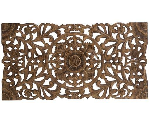 Decorazione da parete fatta a mano Samira, Fibra di media densità (MDF), Marrone finitura antica, Larg. 85 x Alt. 45 cm