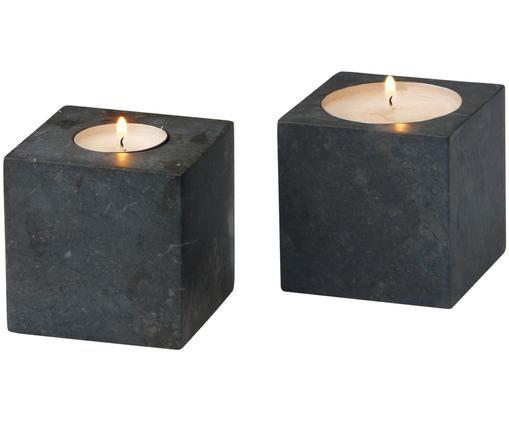 Komplet świeczników na podgrzewacze z marmuru Hammam, 2 elem., Marmur, Ciemnyszary, S 8 x W 8 cm