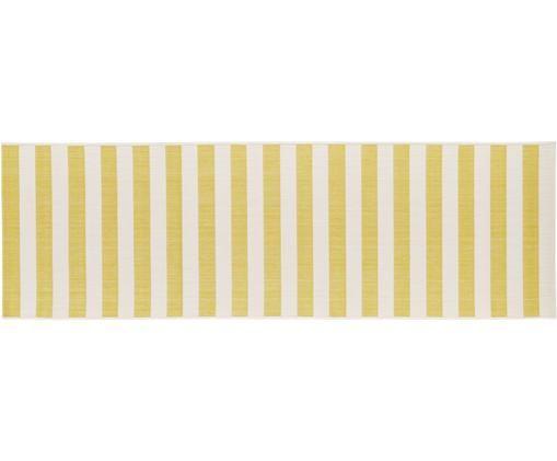 Tapis de couloir intérieur-extérieur à jeu de rayures Axa, Blanc crème, jaune