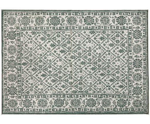 Tappeto vintage reversibile da interno-esterno Curacao, Verde, color crema, Larg.160 x Lung. 230 cm (taglia M)