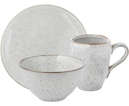 Ręcznie wykonany komplet naczyń śniadaniowych Nordic Sand, 12 elem.