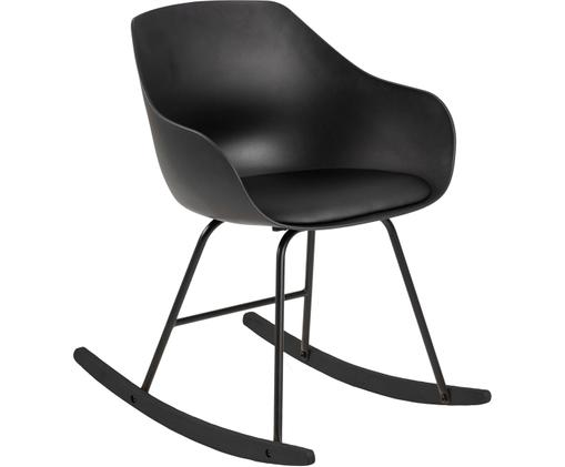 Kunstlederen schommelstoel Tina, Bekleding: kunstleer (polyurethaan), Poten: gecoat metaal, Zwart, 56 x 70 cm