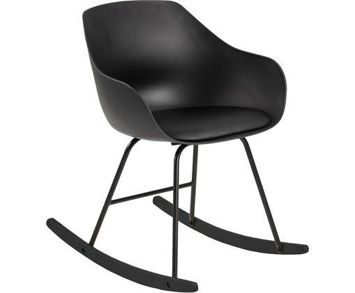 Kunstleder-Schaukelstuhl Tina, Bezug: Kunstleder (Polyurethan), Beine: Metall, beschichtet, Schwarz, B 56 x T 70 cm
