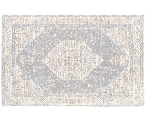Handgewebter Chenilleteppich Neapel im Vintage Style, Flor: 95% Baumwolle, 5% Polyest, Hellgrau, Creme, Taupe, B 120 x L 180 cm (Größe S)