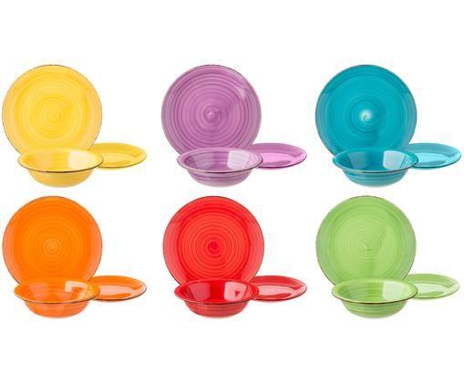 Service de table multicolore Baita, 6personnes (18élém.), Jaune, lilas, turquoise, orange, rouge, vert