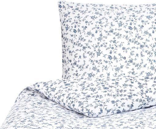 Pościel z bawełny renforcé Anja, Biały, niebieski, 155 x 220 cm