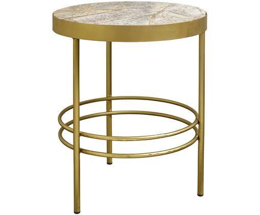 Tavolino rotondo in marmo Jungle, Struttura: metallo verniciato, Piano d'appoggio: marmo, Struttura: dorato Piano d'appoggio: giallo marmorizzato, Ø 50 x Alt. 57 cm