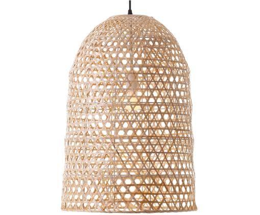Lampada a sospensione Aurora, Paralume: bambù, Baldacchino: materiale sintetico, Marrone chiaro, Ø 41 x Alt. 59 cm