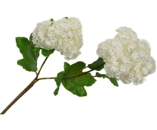 Kunstblume Schneeballzweig Snow, Blüte: Kunststoff, Stiel: Metall, Creme, L 53 cm