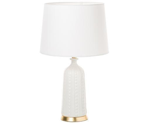 Große Tischleuchte Nizza, Lampenschirm: Leinen, Lampenfuß: Keramik, krakeliert, Weiß, Ø 36 x H 70 cm