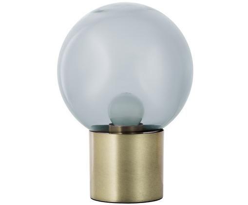 Lampada da tavolo a LED Lark in vetro, Paralume: vetro, Base della lampada: metallo spazzolato, Paralume: grigio, trasparente base della lampada: ottone opaco, Ø 17 x Alt. 24 cm